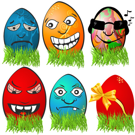 Collection of different   Easter egg emotions, serial 2 Vector