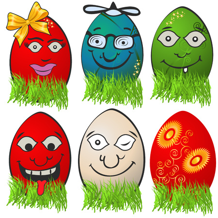 Collection of different  Easter egg emotions, serial 1 Vector