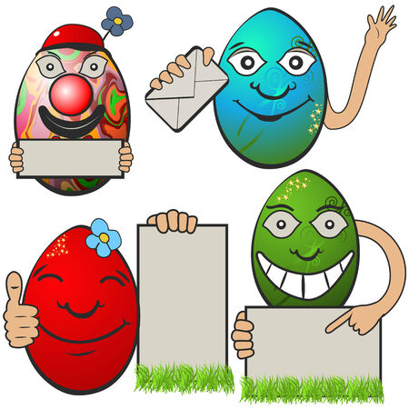 Collection of different  Easter eggs with banners, serial 2 Vector