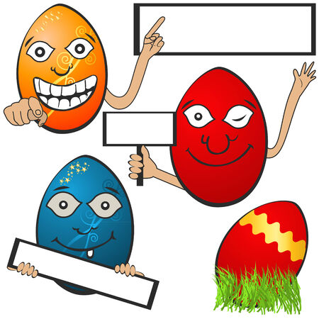 Collection of different  Easter eggs with banners, serial 1 Vector