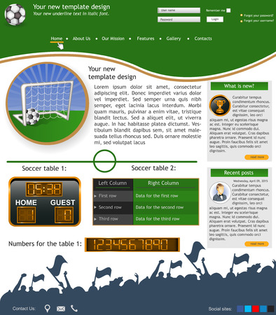 Website template design along with icons and images  Soccer ball related