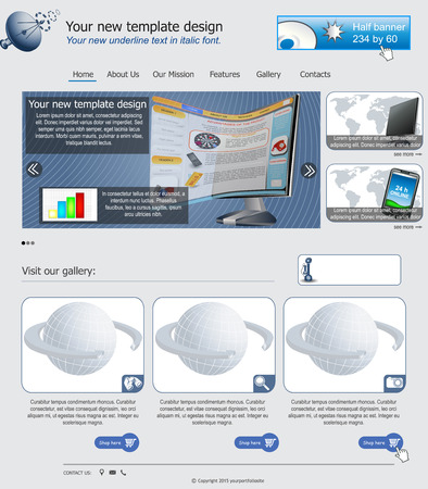 Website template design along with icons and images  Web design related