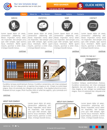 Website template design along with icons and images   Illustration