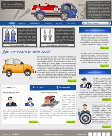 sidebar: Website template design along with icons and images of Car service related  Illustration