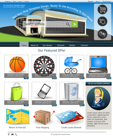 moll: Website template design along with icons and images  Internet shop related  Illustration