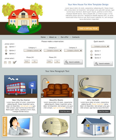 Website template design along with icons and images  House for hire  Vector