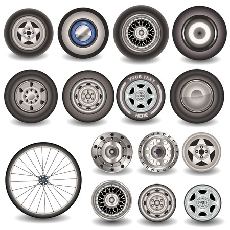 wheel rim: Great collection of different tires  Illustration