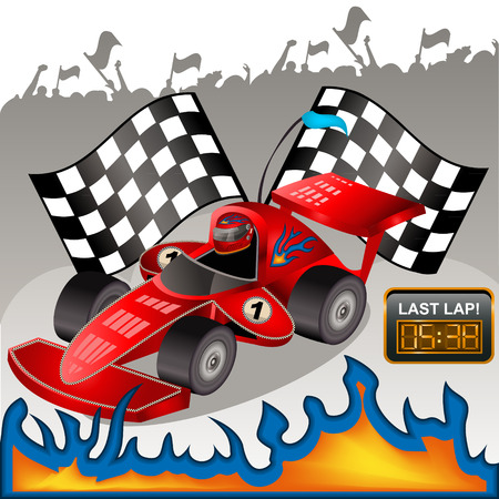 racer flag: Vector illustration of a racing car with flames