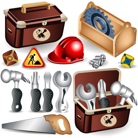 repairer: Set of toolbox along with different tools  Illustration