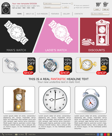 Website template design along with icons and images  Swatch sales