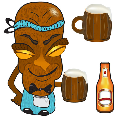 mag: Vector illustration d'une statue barmen tiki tenant un mag de bi�re Illustration