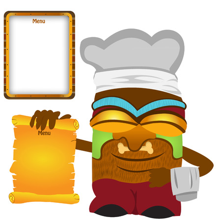 specialities: Vector illustration of a tiki cook statue holding a menu