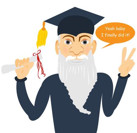 finally: senior man finally graduated Illustration