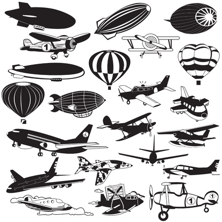 vintage airplane: Air transport and flying machine icons