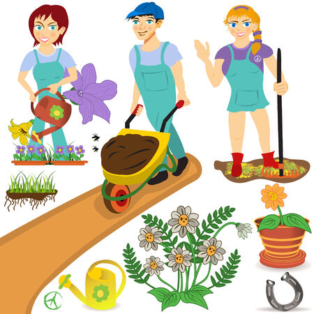 standing water: Gardeners with tools and flowers illustration set.