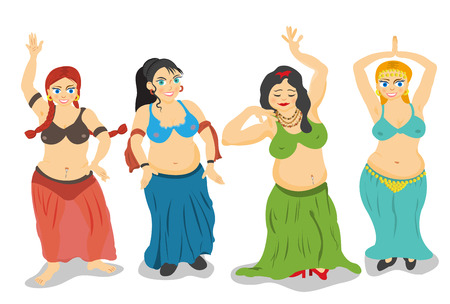 chubby: Four different cartoon belly dancers over white background. Illustration