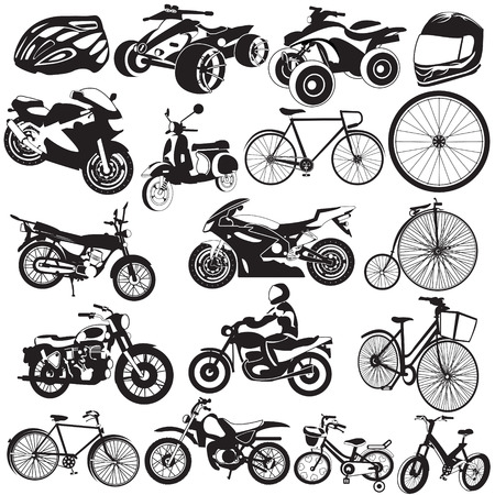 Great collection of different bicycle and motorcycle black icons. Illustration