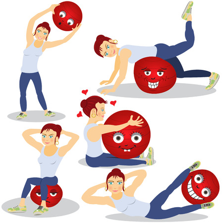 illustration of a woman doing pilates with emotional ball Vector