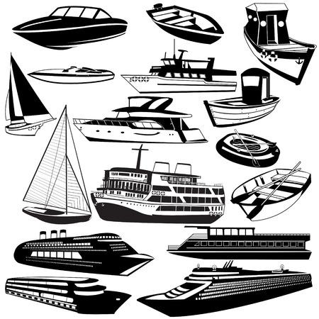 Grote vector verzameling van verschillende boot zwarte pictogrammen