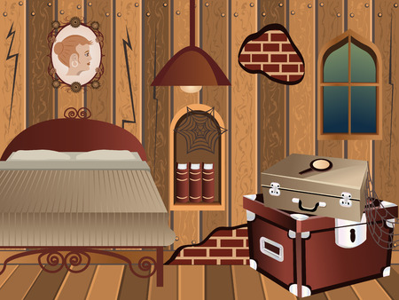 cartoon interior - illustration of an attic in vintage style. Vector