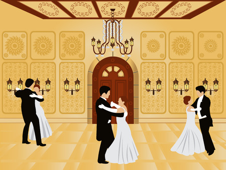 hall: cartoon interior - vector illustration of a ballroom along with waltz dancers. Illustration