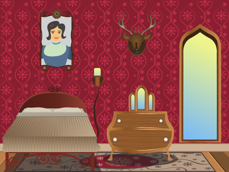 bedroom wall: cartoon interior - illustration of a luxury bedroom in Gothic style. Illustration