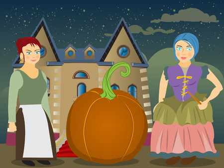 godmother: cartoon exterior - fairy tale illustration of a young girl, a pumpkin and a fairy godmother.
