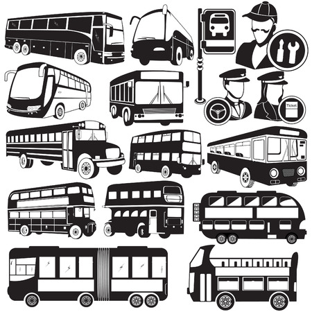 Gran colección de diferentes iconos de autobús vector negro Vectores