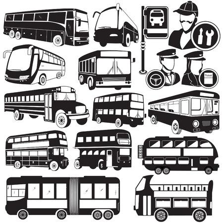 chofer de autobus: Gran colección de diferentes iconos de autobús vector negro Vectores