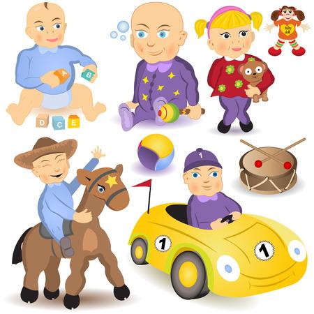 nenes jugando: Vector colecci�n de diferentes beb�s juegan con los juguetes. Vectores