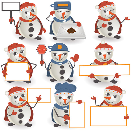 happy newyear: Collection of 9 snowman illustrations and banners. Illustration