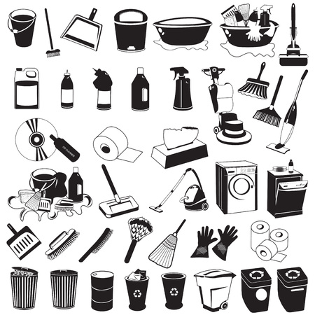 Great collection of each separately grouped cleaning black icons. Illustration