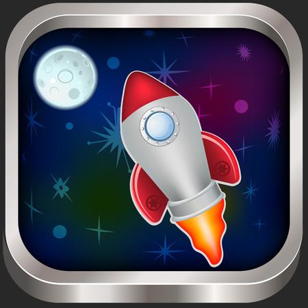 spacecraft: Vintage spacecraft vector illustration icon for app and ios Illustration