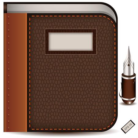 testigo: Vector ilustraci�n detallada de un icono de libro junto con un bol�grafo.