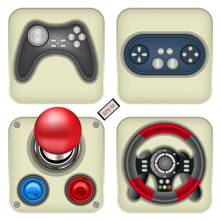 joypad: Set of four detailed and realistic gamepad icons.