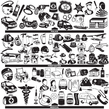 Great vector collection of different police firefighter and medical profession black icons