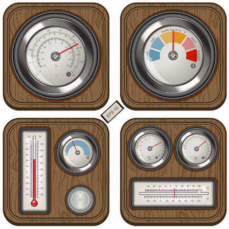 calibrated: Vector collection of different analog temperature meter icons on wood background.