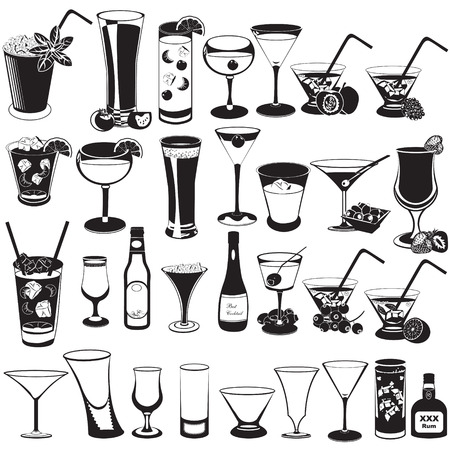 champagne orange: Great vector illustration of a cocktail black icons.