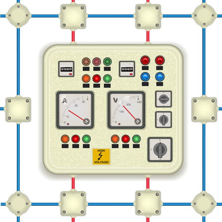 control panel lights: vector illustration of a detailed electric control panel along with junction boxes. It also could be used as a seamless pattern. Illustration
