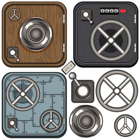 turn dial: Collection of a safe door icons, isolated or on different textures.