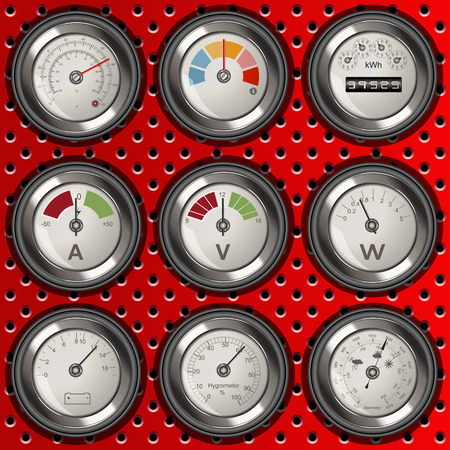 voltmeter: Vector collection of different detailed rounded analog meter icons