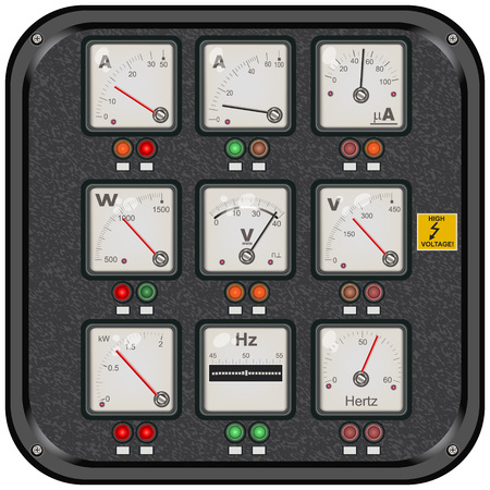 Vector collection of different detailed squared panel meter icons