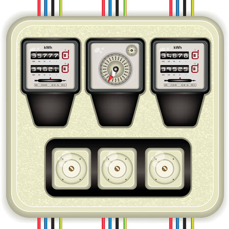 apprehend: Vector detailed illustration of analog electric meters with timer and fuses on a white panel.