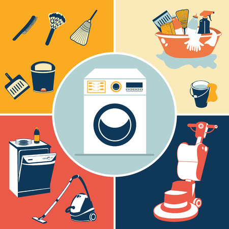dry cleaner: Vector illustration of different flat cleaning icons