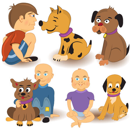 Vector illustration of cartoon kids with their dogs. Vector