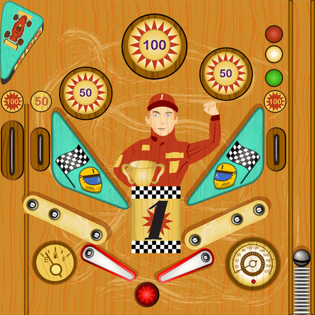 nudging: Vector detailed illustration of a vintage pinball icon - part two