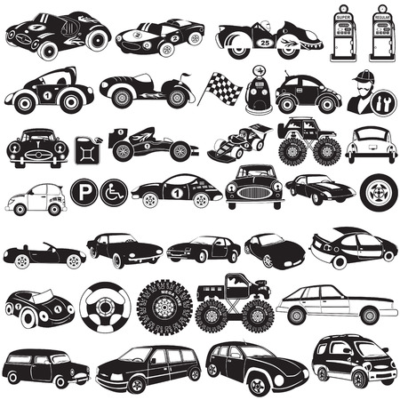 limo: Wide collection of different cars, black  vector illustration icons.