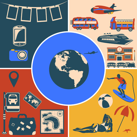 plate camera: Collection of different travel flat icons, vector illustration image.