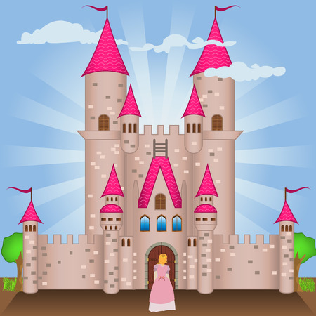 Vector illustration of a Gothic castle with a  princess on the door. Illustration