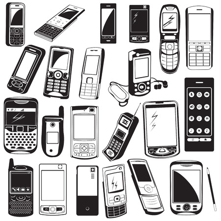 Great collection of different cellphone black icons. Vectores